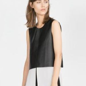 Zara black leather crop top